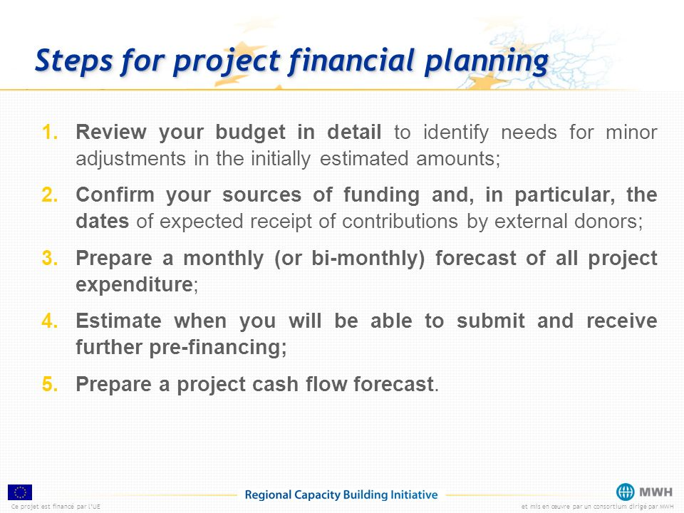 Steps for project financial planning