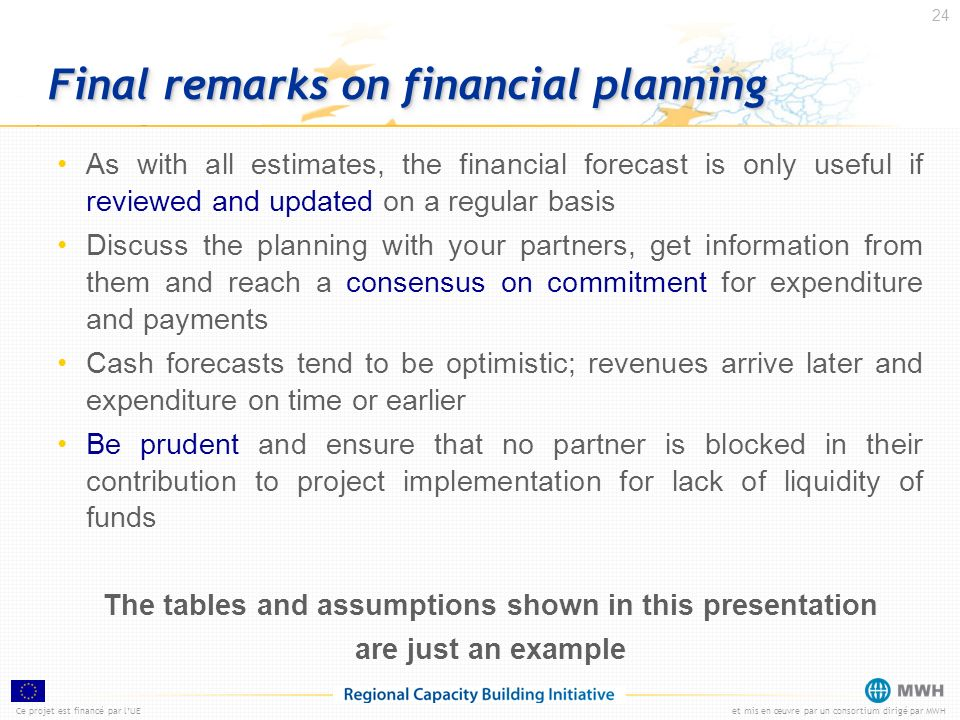 Final remarks on financial planning