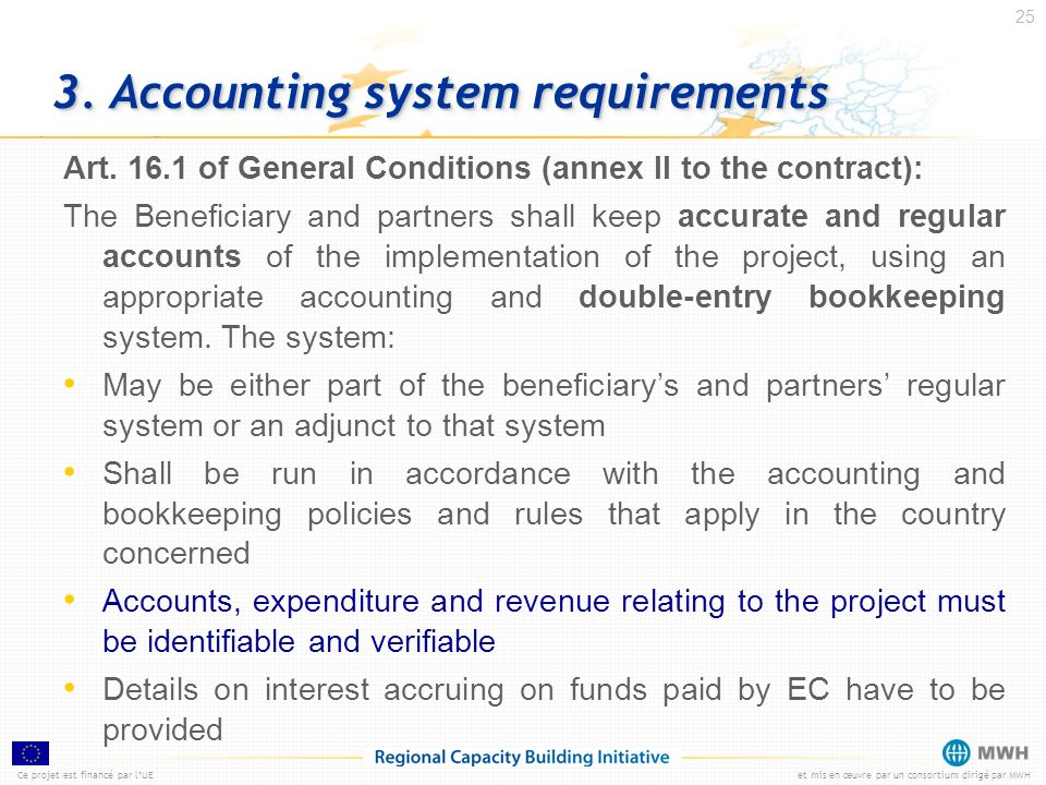 3. Accounting system requirements