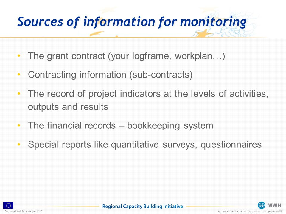Sources of information for monitoring
