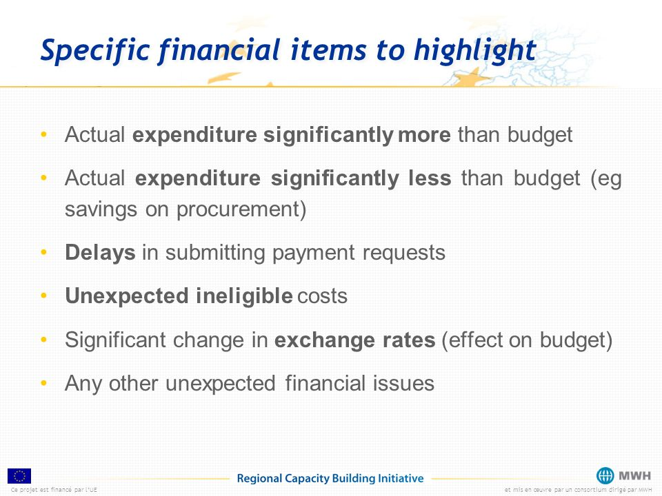 Specific financial items to highlight