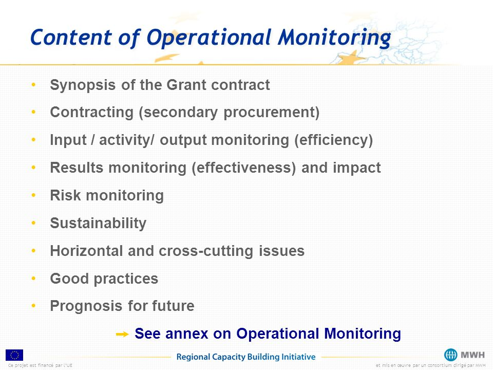 Content of Operational Monitoring