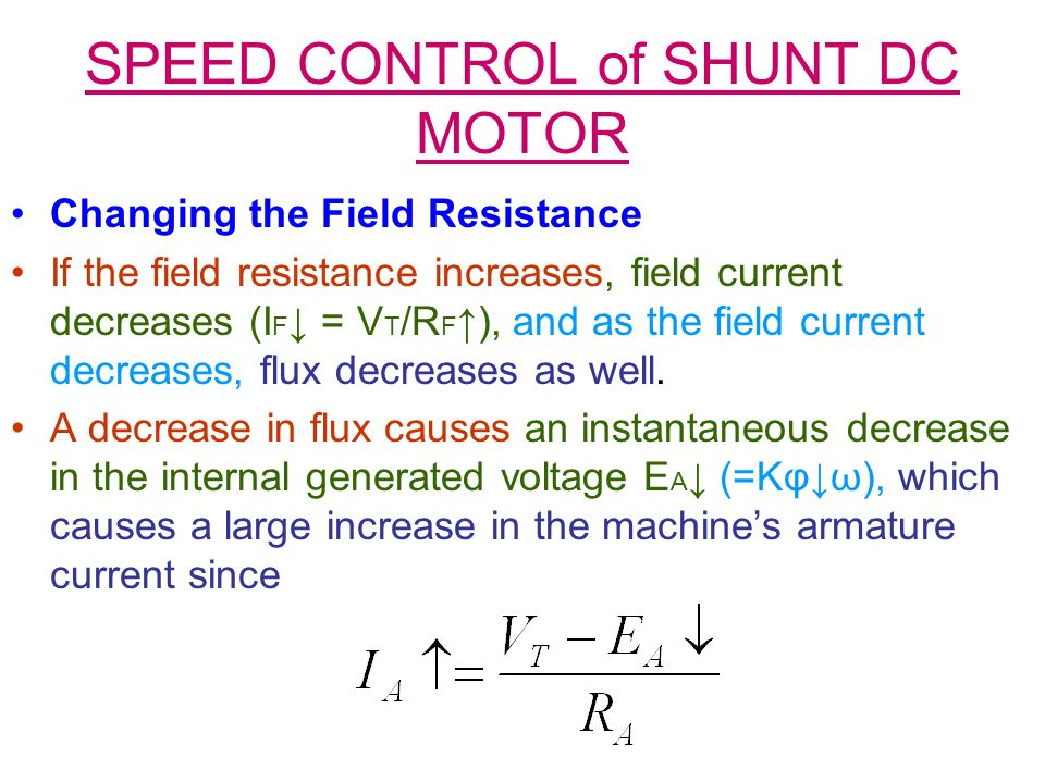 SPEED CONTROL of SHUNT DC MOTOR