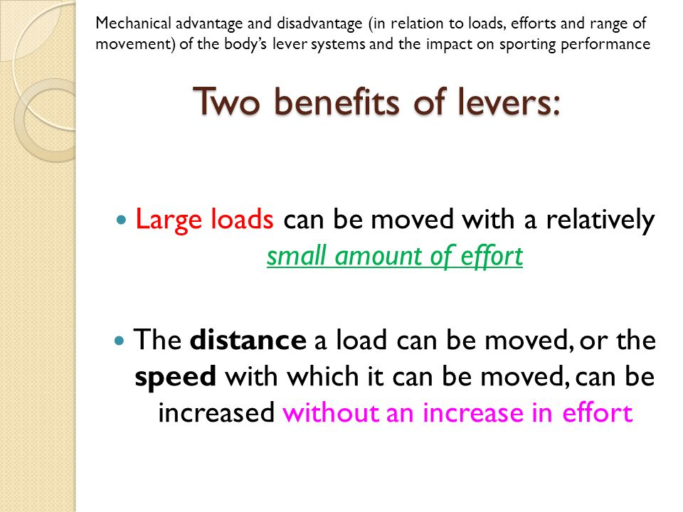 disadvantages of levers