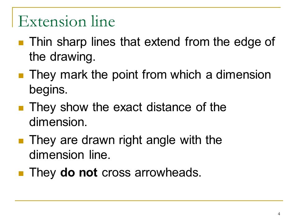 Learning Objectives Define The Following Dimension Line Extension