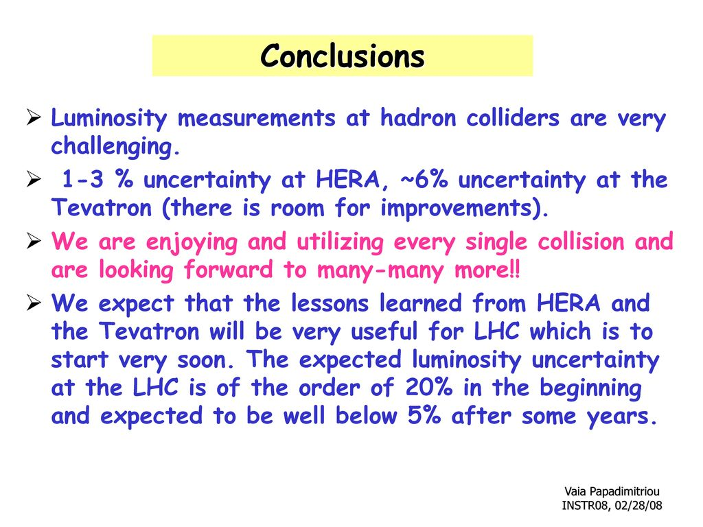 Conclusions Luminosity measurements at hadron colliders are very challenging.