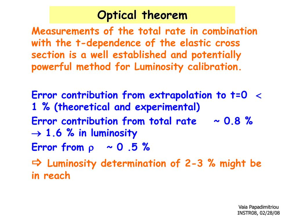  Luminosity determination of 2-3 % might be in reach