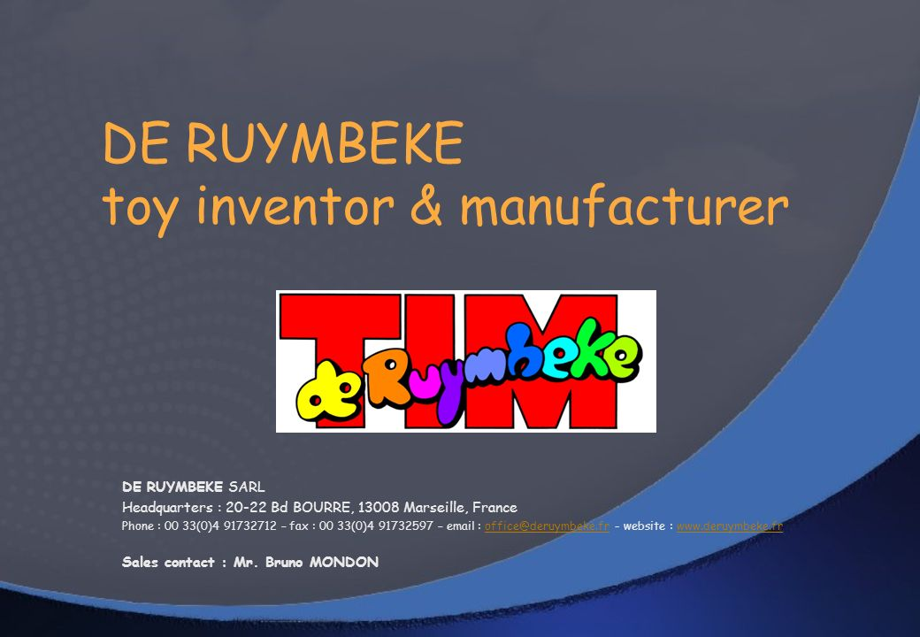 DE RUYMBEKE toy inventor & manufacturer