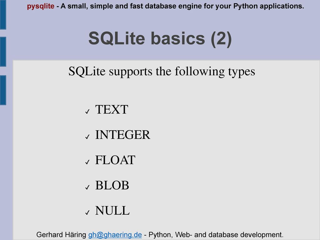 Introduction to pysqlite - ppt download