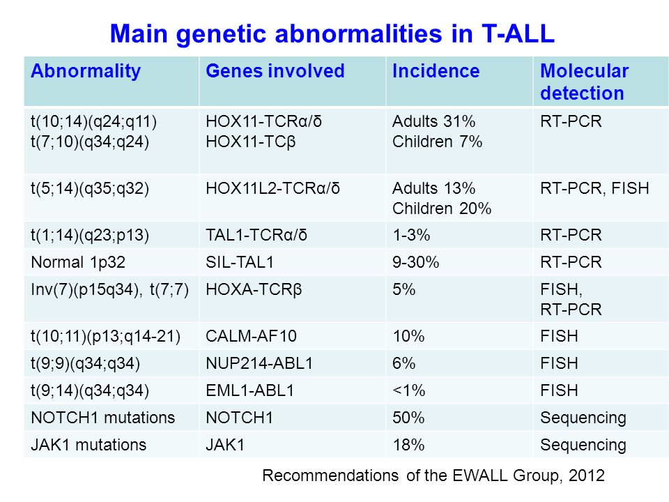 Main genetic abnormalities in T-ALL