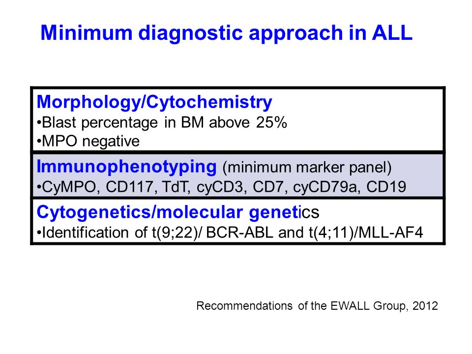 Minimum diagnostic approach in ALL
