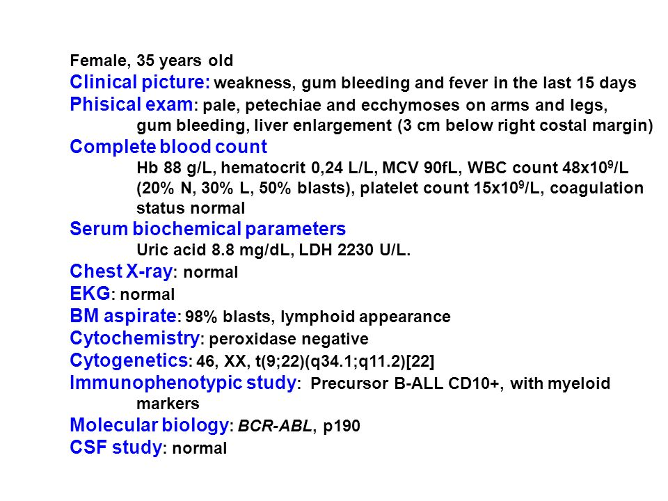 Clinical picture: weakness, gum bleeding and fever in the last 15 days