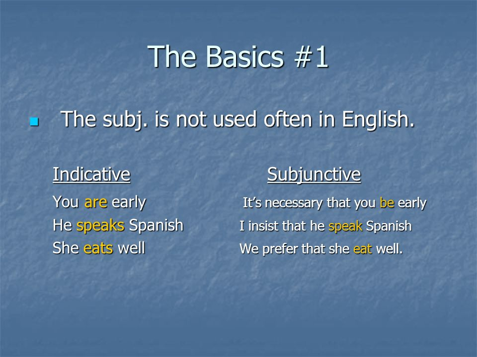 The Basics #1 The subj. is not used often in English.