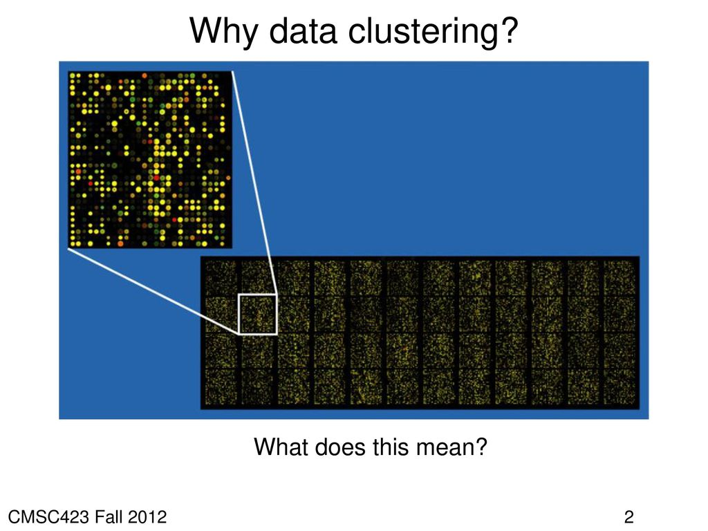 Why data clustering What does this mean CMSC423 Fall 2012