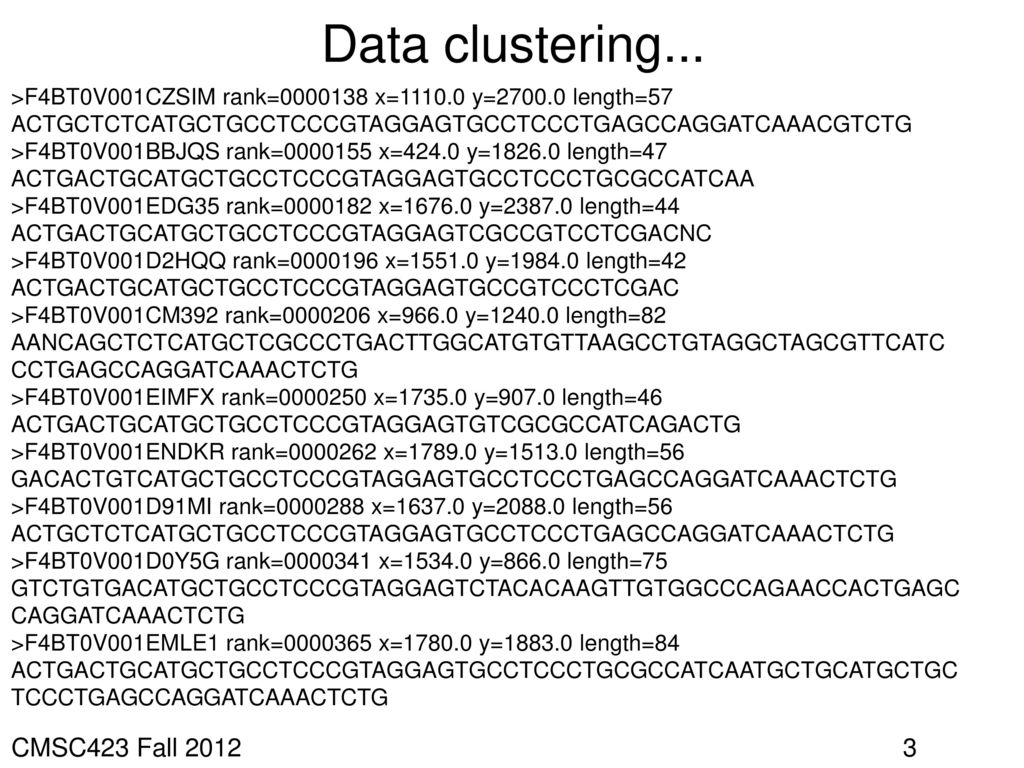 Data clustering... CMSC423 Fall 2012