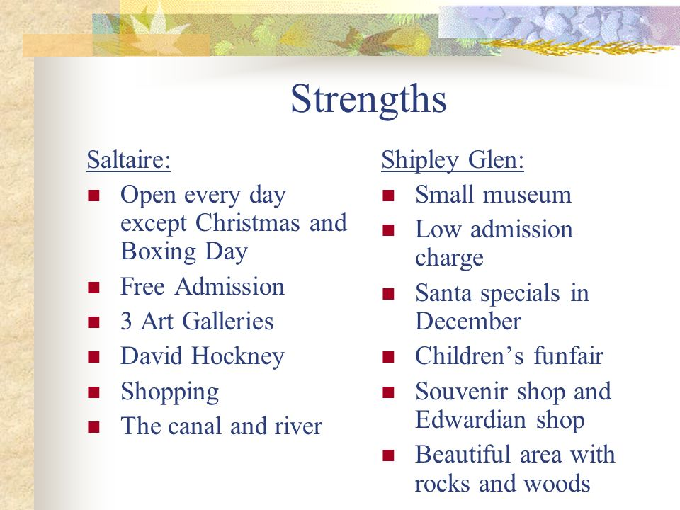 Strengths Saltaire: Open every day except Christmas and Boxing Day