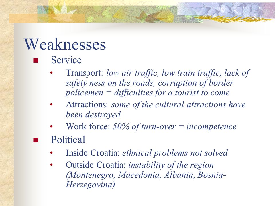 Weaknesses Service Political