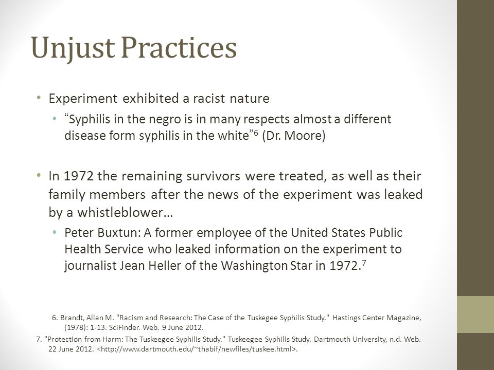 tuskegee syphilis paper The tuskegee syphilis experiment of the 20th century is often cited as the most famous example of unethical medical research now, evidence has emerged that it overlapped with a shorter study.