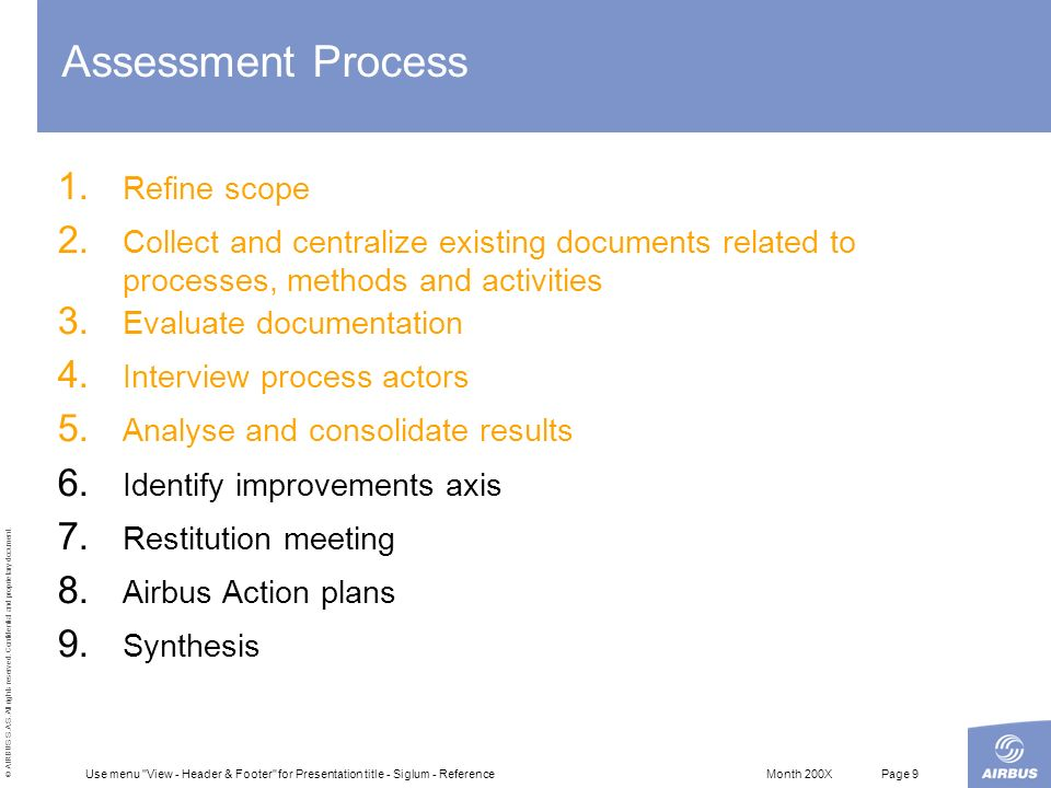 Assessment Process Refine scope