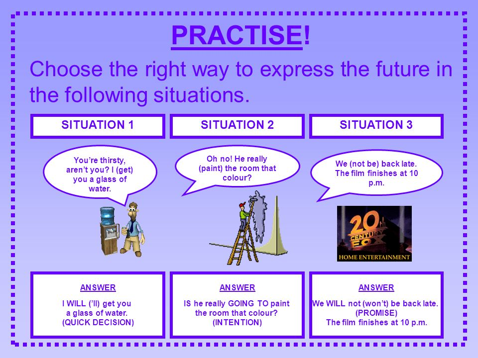 PRACTISE! Choose the right way to express the future in the following situations. SITUATION 1. SITUATION 2.