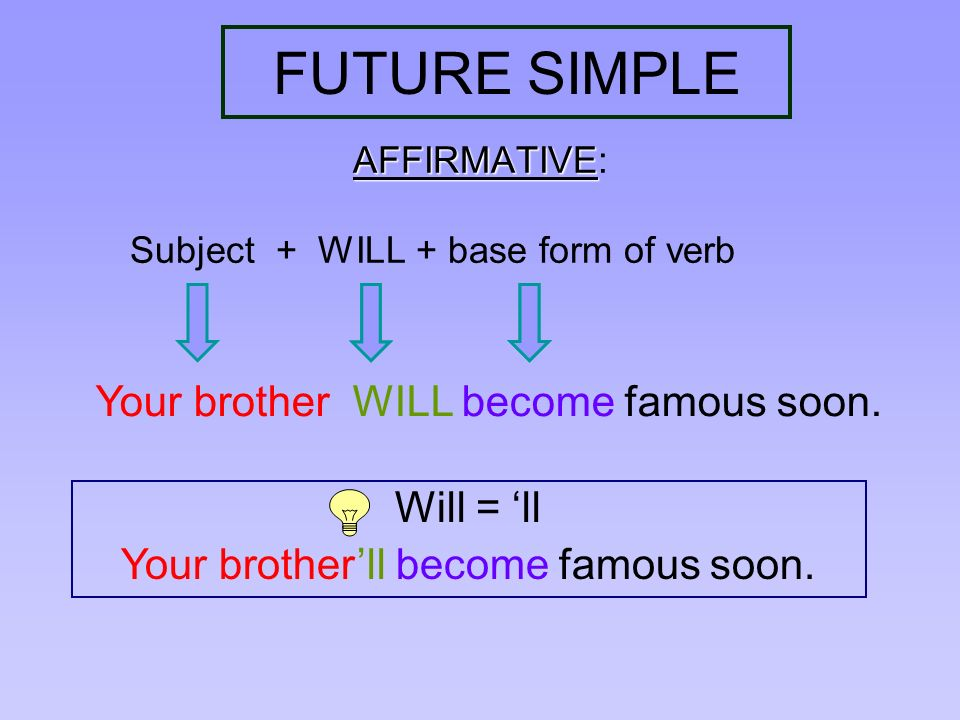 FUTURE SIMPLE Your brother WILL become famous soon. Will = 'll