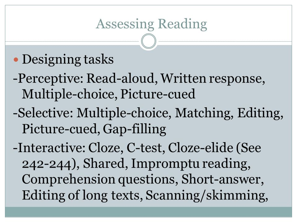Chapter 9 & 10  Assessing Reading & Writing - ppt video