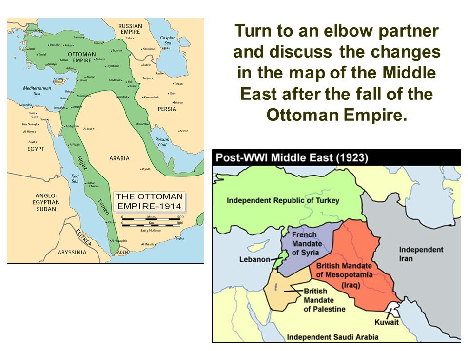 The fall of the ottoman empire and conflict in sw asia ppt video turn to an elbow partner and discuss the changes in the map of the middle east gumiabroncs Choice Image