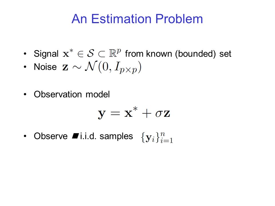 An Estimation Problem Signal from known (bounded) set Noise