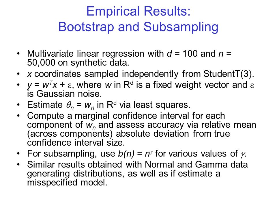 Empirical Results: Bootstrap and Subsampling