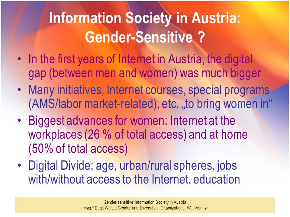 Information Society in Austria: Gender-Sensitive