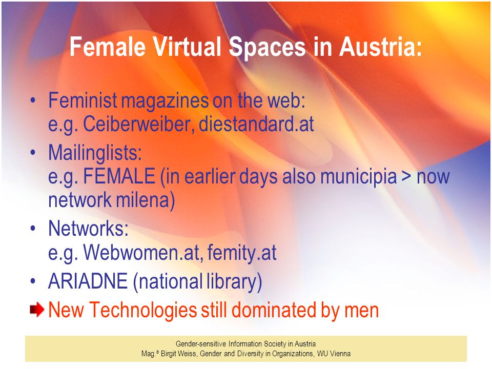 Female Virtual Spaces in Austria: