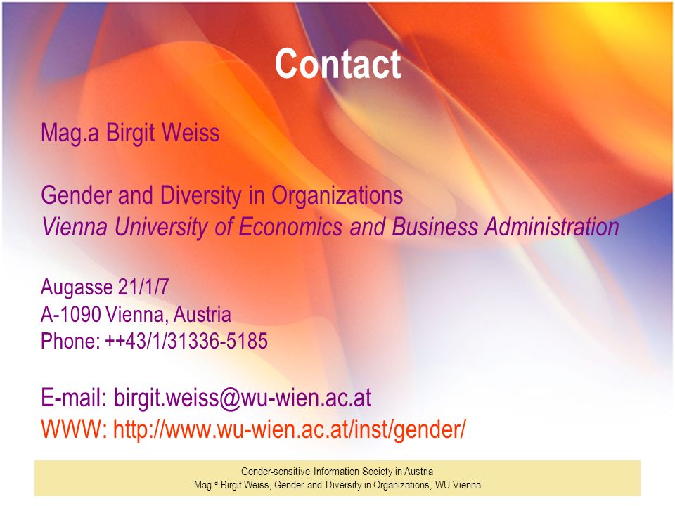 Contact Mag.a Birgit Weiss Gender and Diversity in Organizations