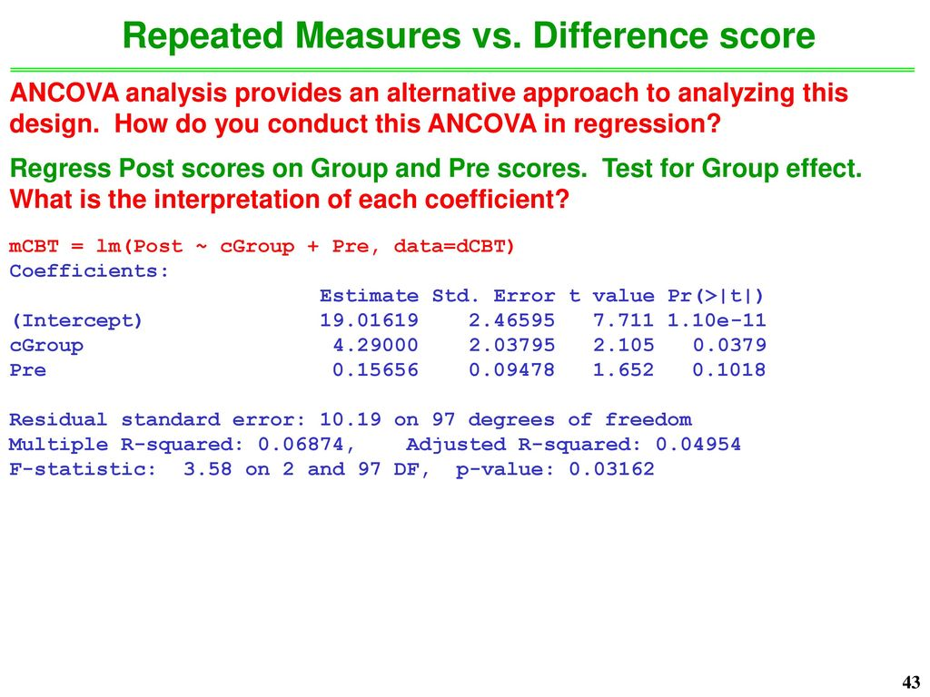 Unit Goals Further review of standard repeated measures