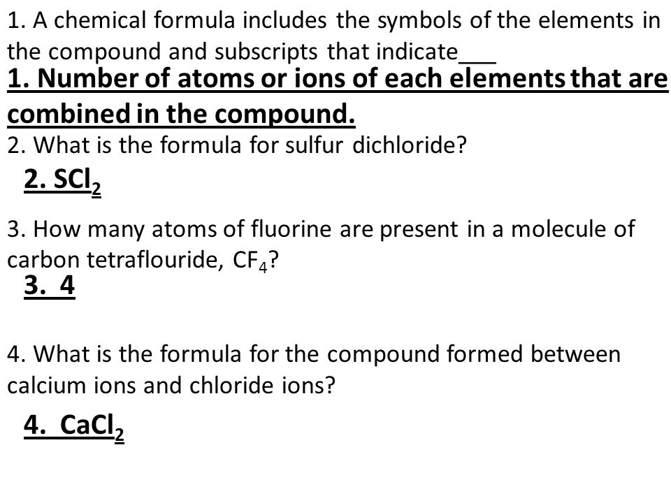 Chapter 7 Chemical Formulas And Compounds Test Review Sheet Ppt
