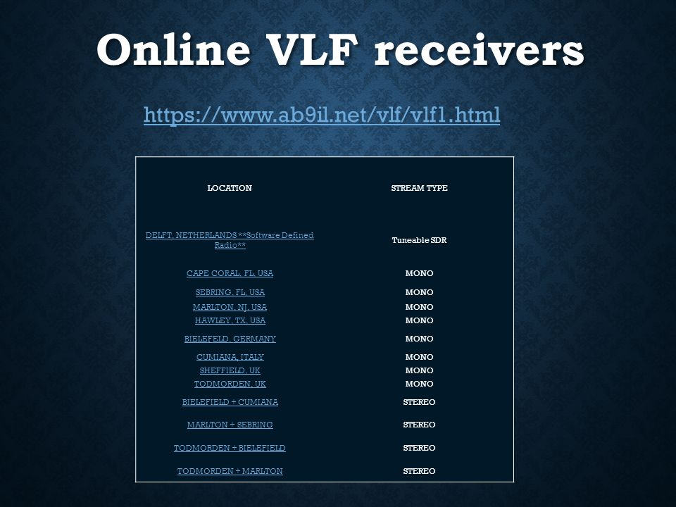 EXPLORING VLF and ELF FREQUENCIES - ppt video online download