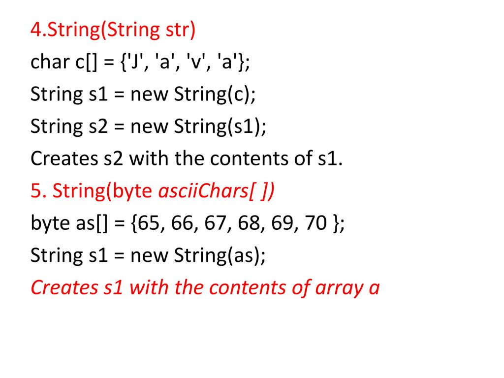 The String class is defined in the java lang package - ppt download
