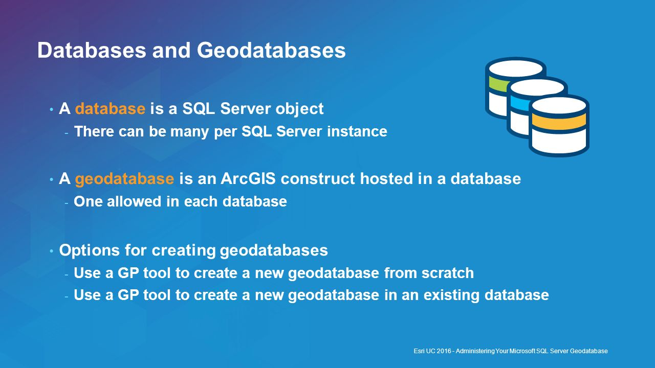Databases and Geodatabases