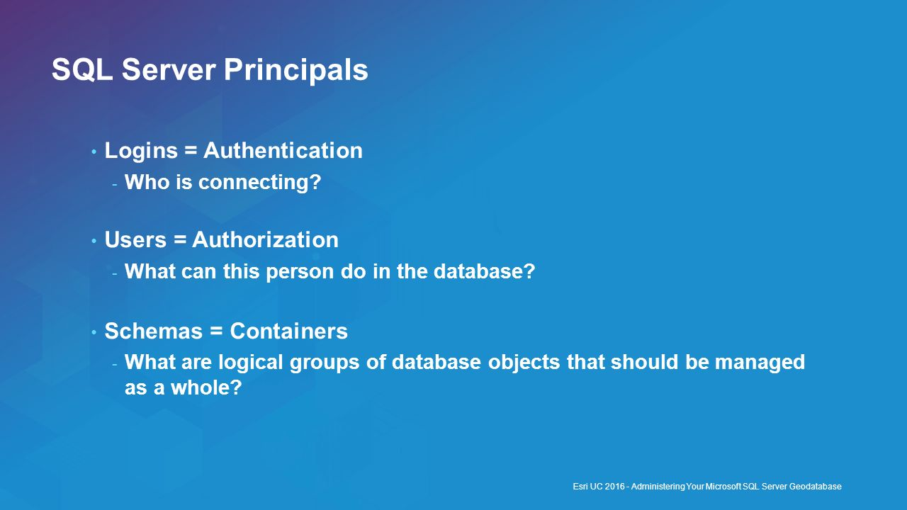 SQL Server Principals Logins = Authentication Users = Authorization