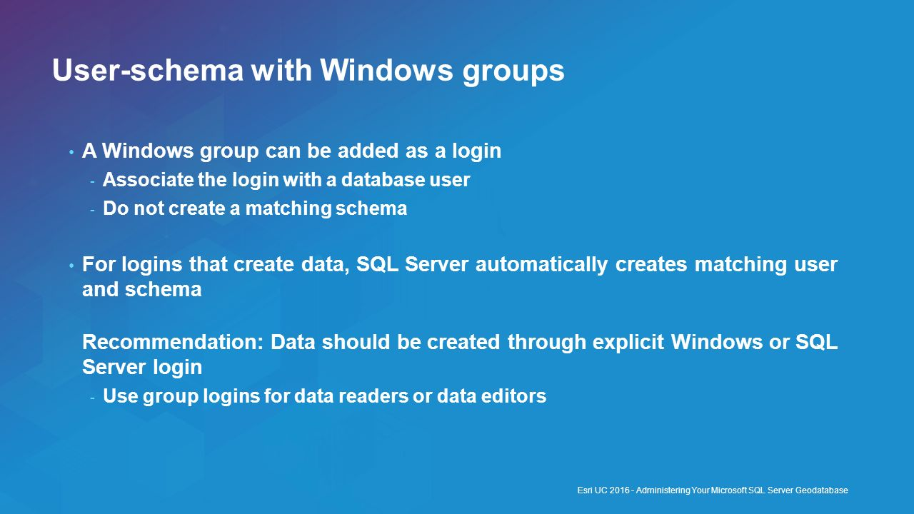 User-schema with Windows groups