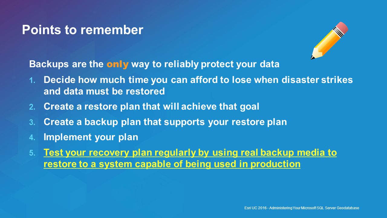 Points to remember Backups are the only way to reliably protect your data.