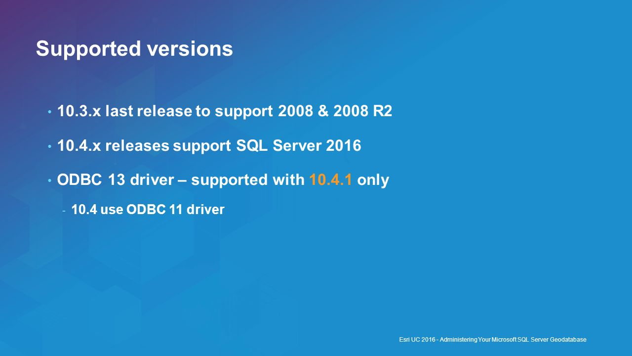 Supported versions 10.3.x last release to support 2008 & 2008 R2