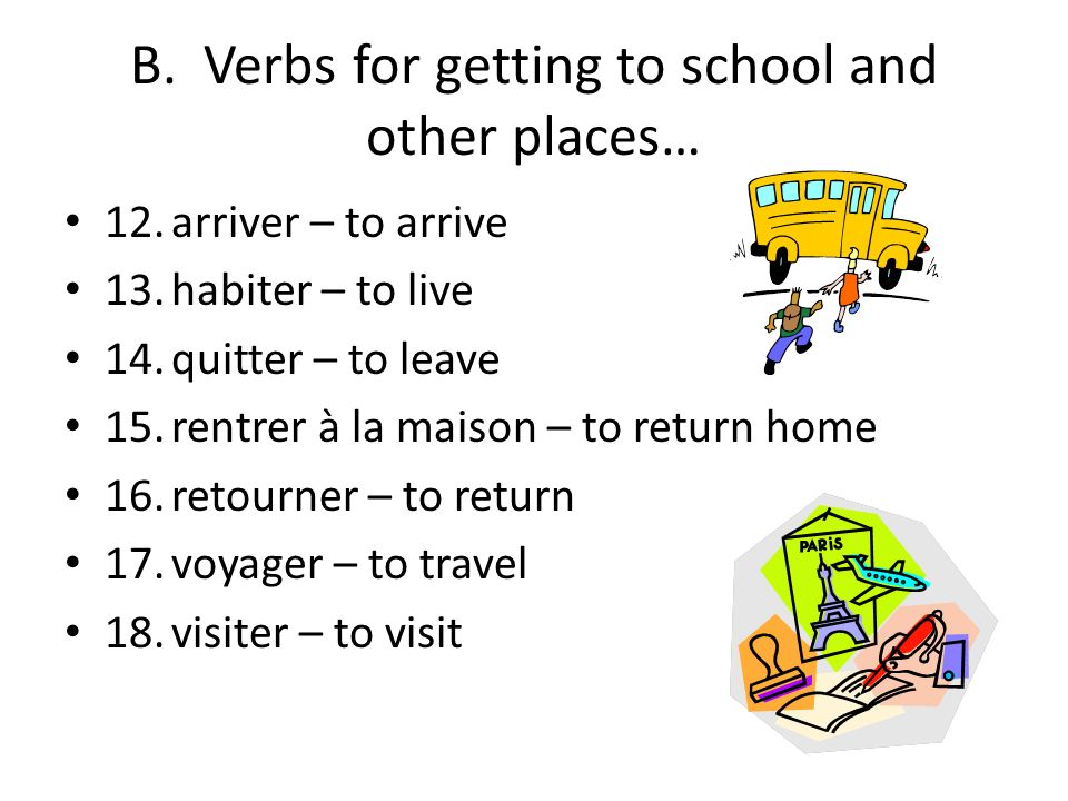 B. Verbs for getting to school and other places…