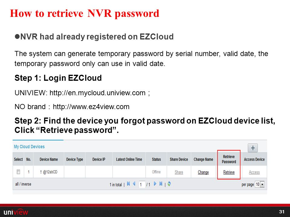 Uniview Password Reset