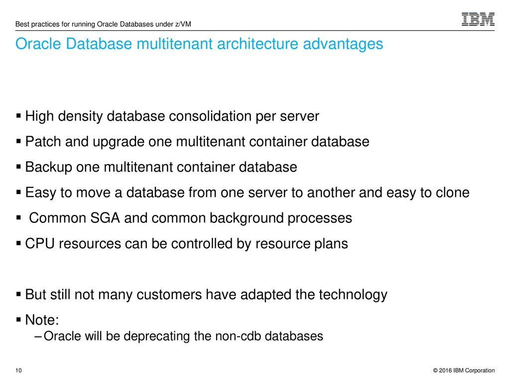 Best practices for running Oracle Databases under z/VM - ppt