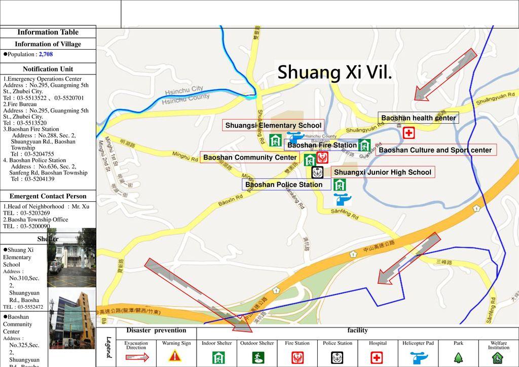 NO.HCC Disaster Evacuation Map of Shuang Xi Vil., Baoshan , Hsinchu ...