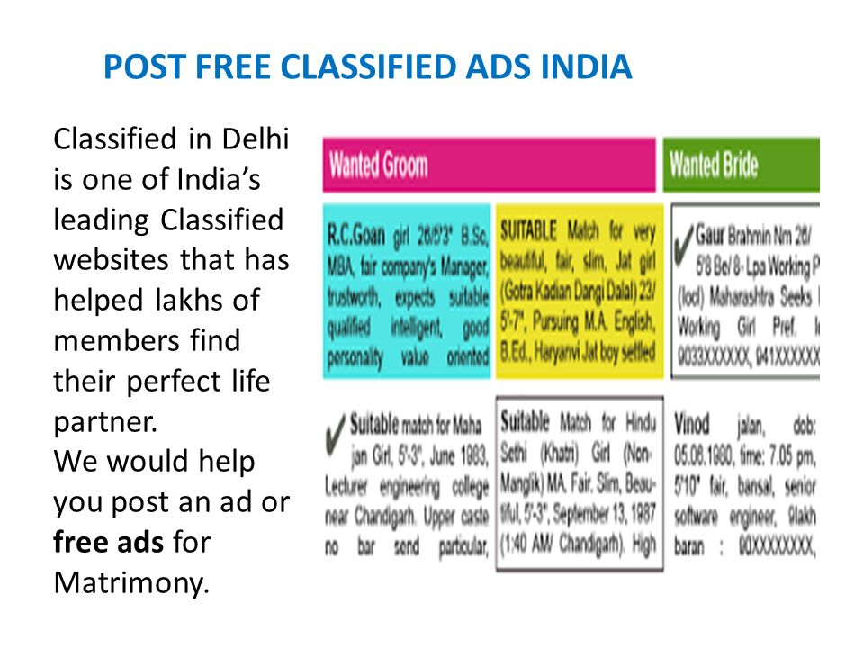Post free classified ads india - ppt download