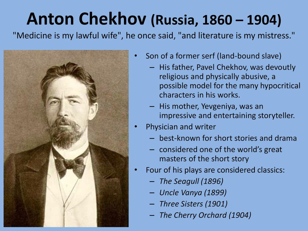 a comparison of anton chekhovs the cherry orchard and a visit to friends Anton chekhov's perennial drama, the cherry orchard, is a classic work of russian literaturechekhov himself grew up in a russia that was experiencing the changes effected by the emancipation of the serfs in 1861.