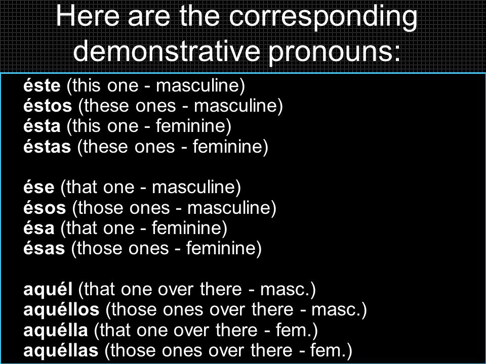 Here are the corresponding demonstrative pronouns: