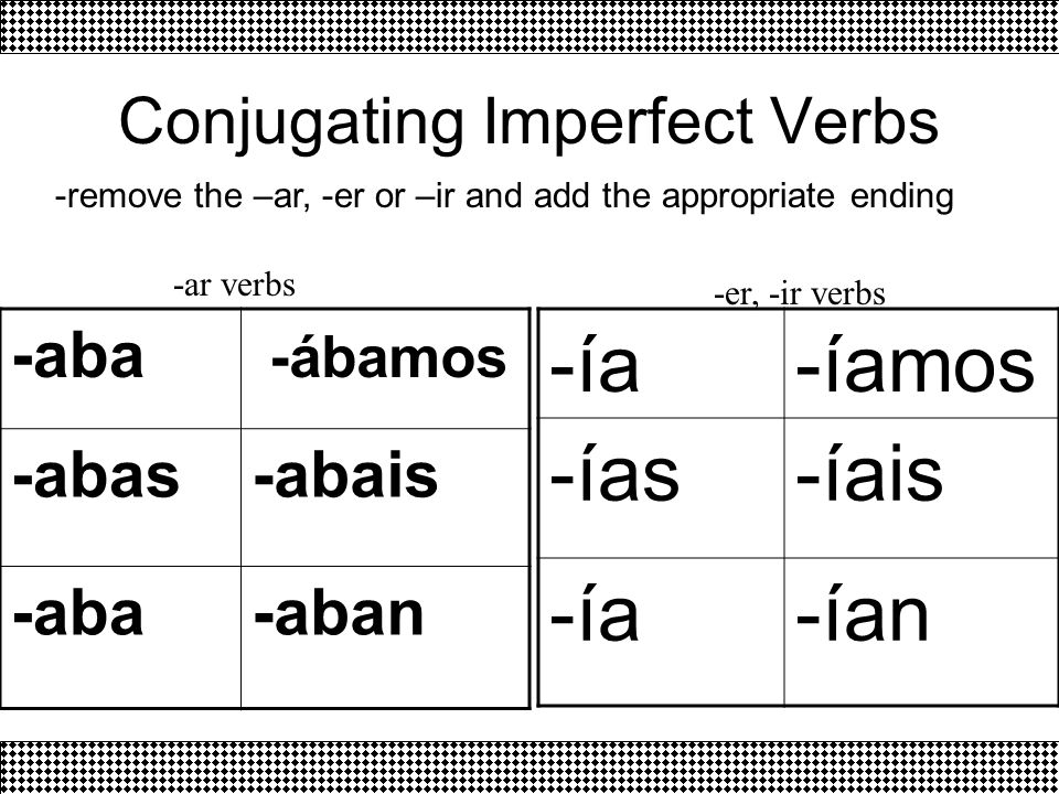 Conjugating Imperfect Verbs