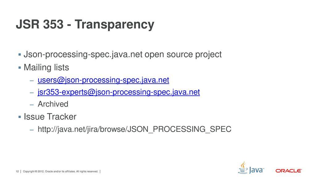JSR 353: Java API for JSON Processing - ppt download